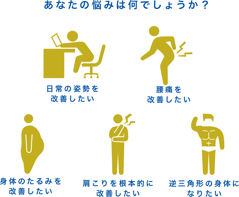 あなたの悩みは何でしょうか?|日常の姿勢を改善したい|腰痛を改善したい|身体のたるみを改善したい|肩こりを根本的に改善したい|逆三角形の身体になりたい